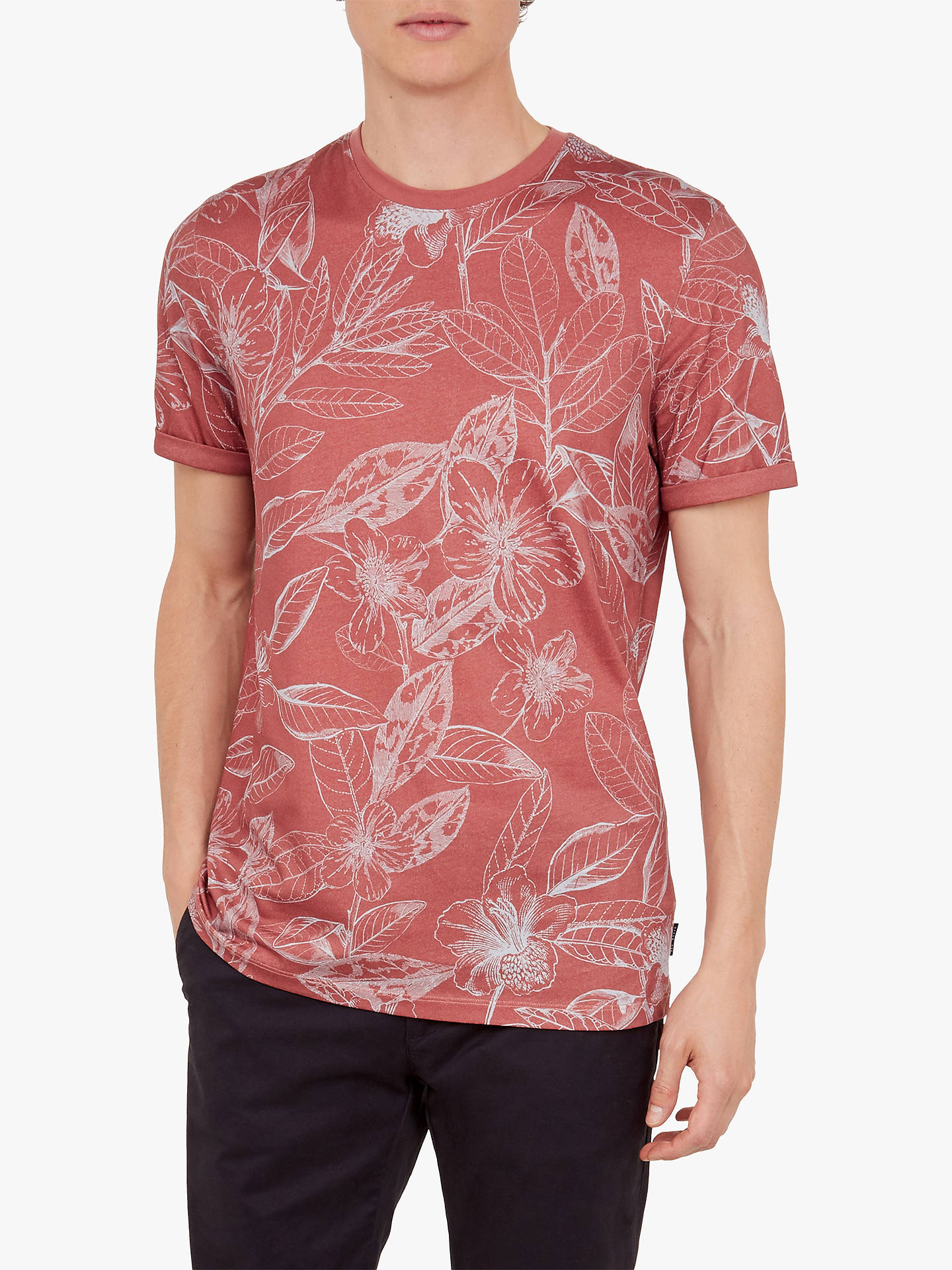 Buy Ted Baker Bota Floral Print Cotton T-Shirt, Pink Mid, 1 Online at johnlewis.com