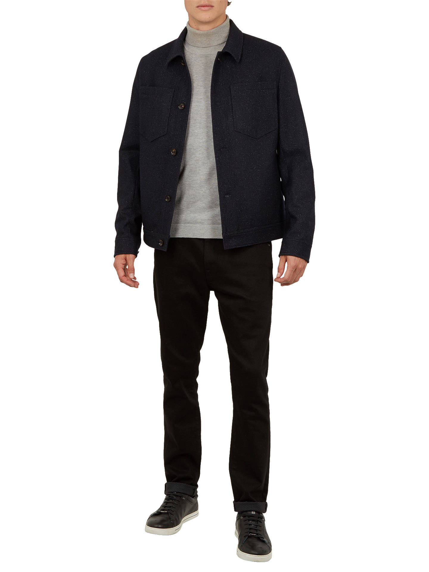 BuyTed Baker Rarebit Flecked Collar Jacket, Navy, 5 Online at johnlewis.com