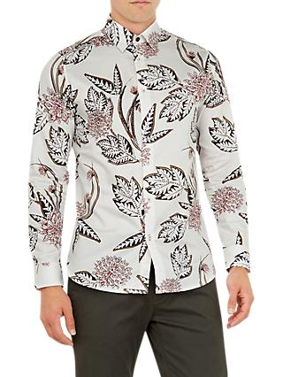 Ted Baker Notting Floral Print Cotton Shirt, White