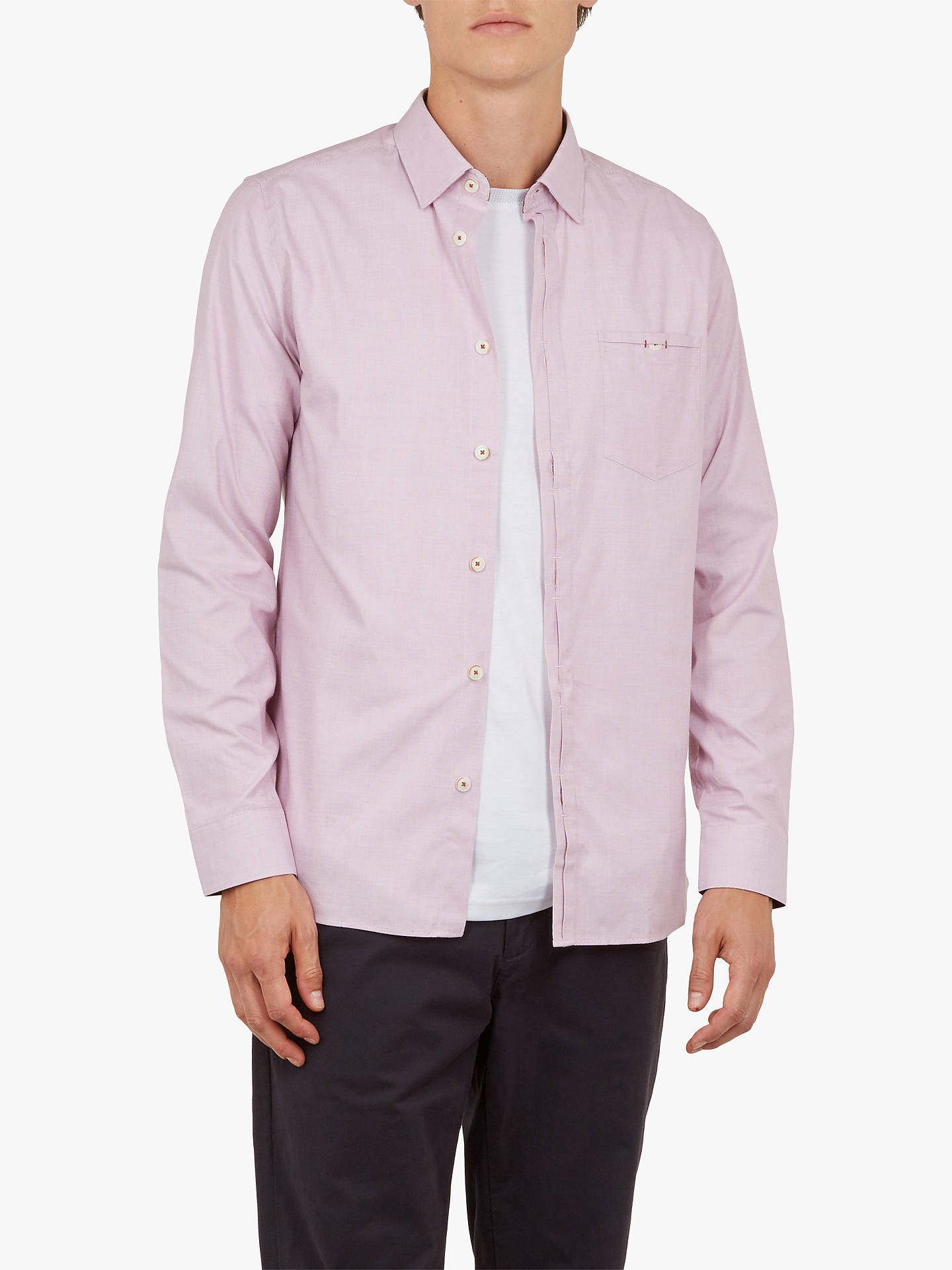 Buy Ted Baker Brixton Long Sleeve Shirt, Mid Pink, 14.5 Online at johnlewis.com