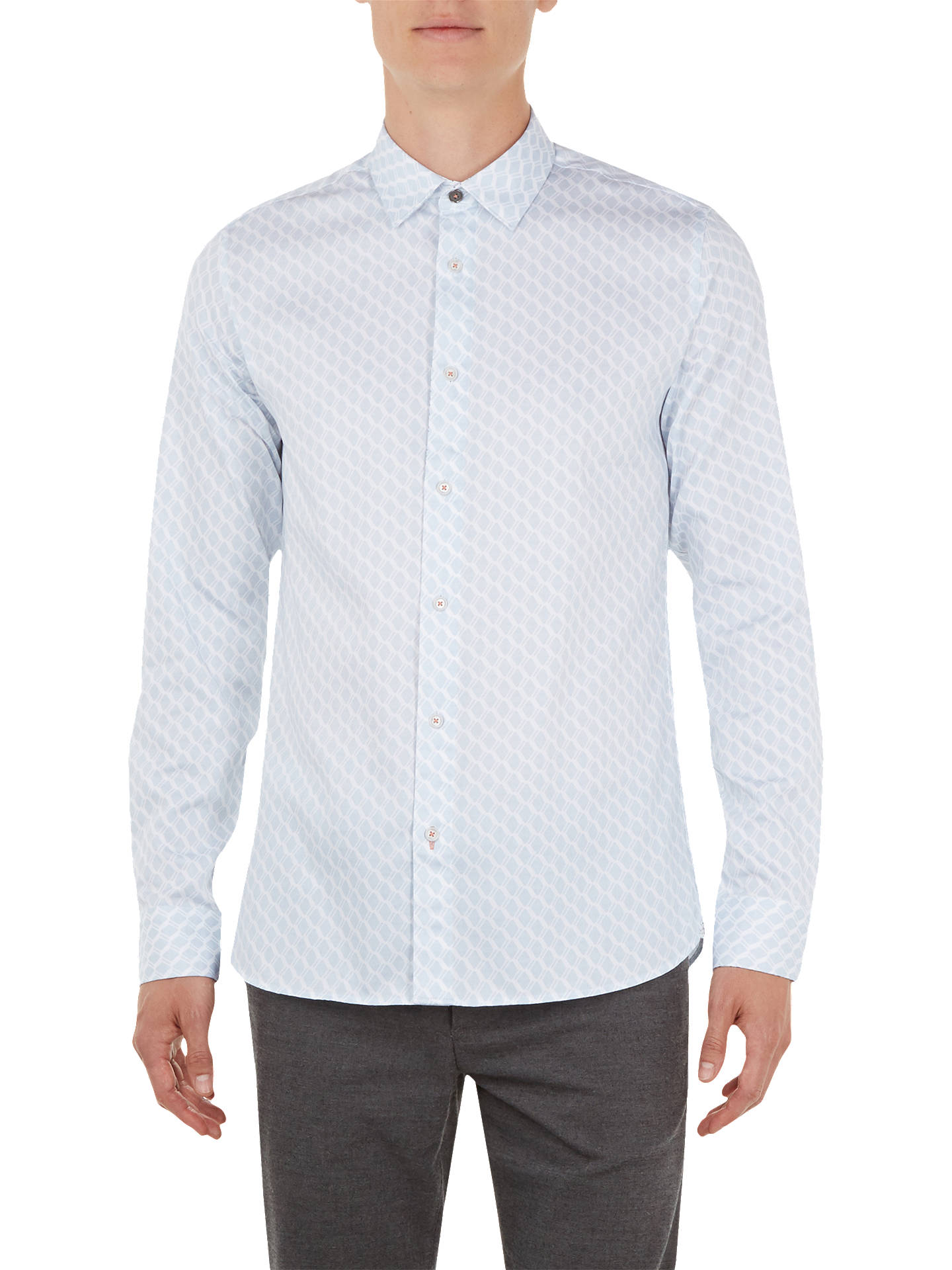 BuyTed Baker Pimlico Long Sleeve Geometric Shirt, Blue Mid, 15 Online at johnlewis.com