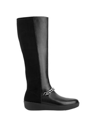 Fitflop Fifi Chain Long Boots, Black Leather