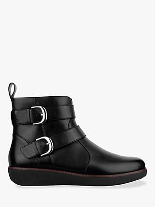 Fitflop Laila Double Buckle Ankle Boots, Black Leather