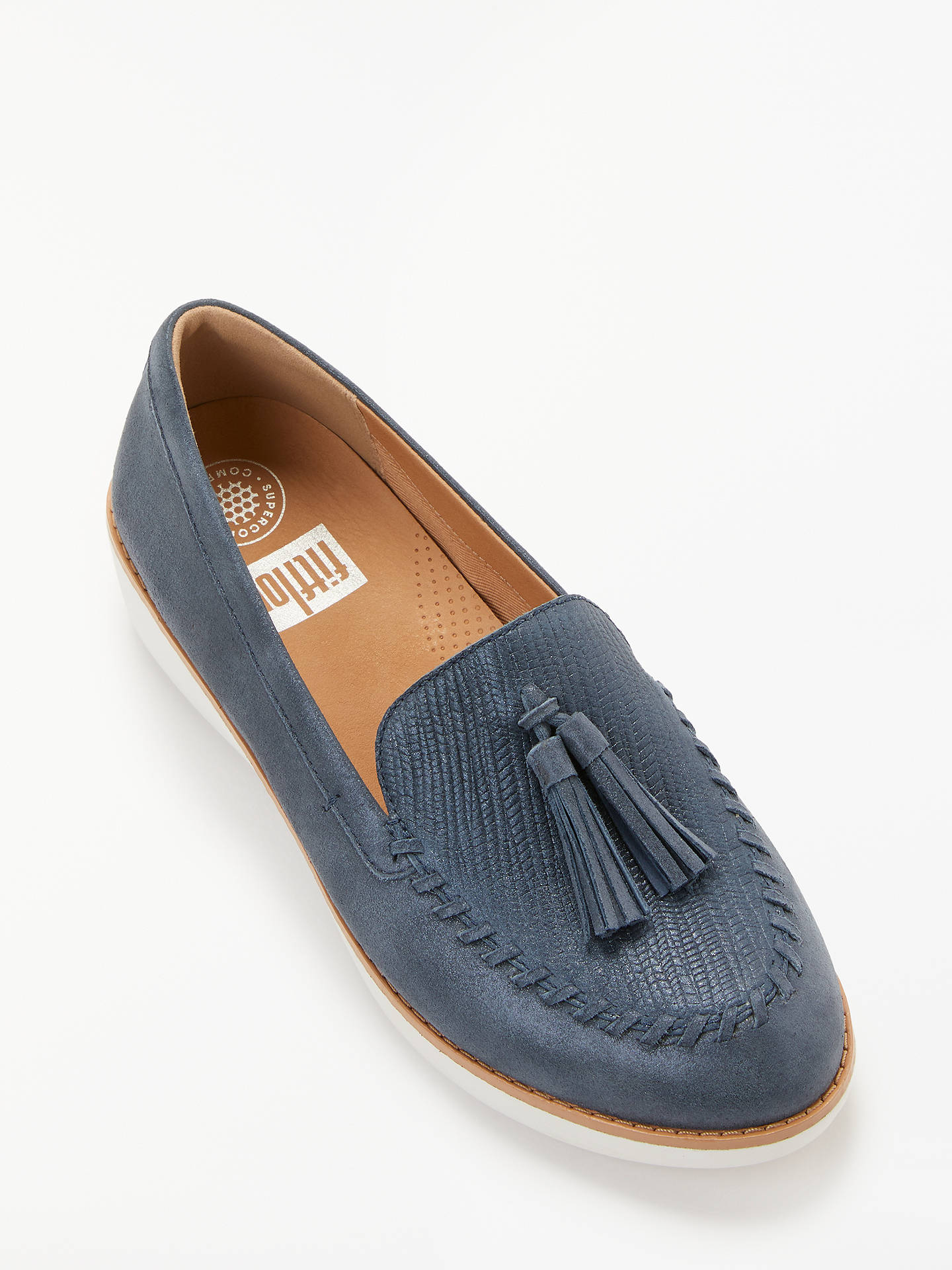 9d19f6fd655 FitFlop Paige Textured Metallic Tassel Loafers at John Lewis   Partners