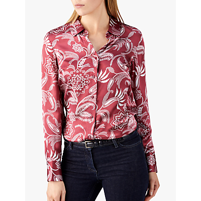 Pure Collection Silk Satin Blouse, Claret Paisley