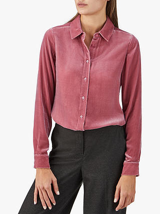 Buy Pure Collection Velvet Shirt, Rose, 8 Online at johnlewis.com