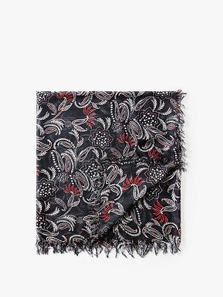 Buy Pure Collection Soft Printed Scarf, Black/Multi Online at johnlewis.com