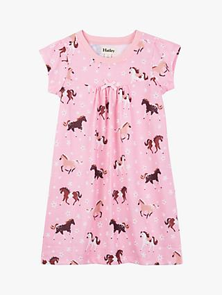 Hatley Girls' Frolicking Horses Print Nightdress, Pink