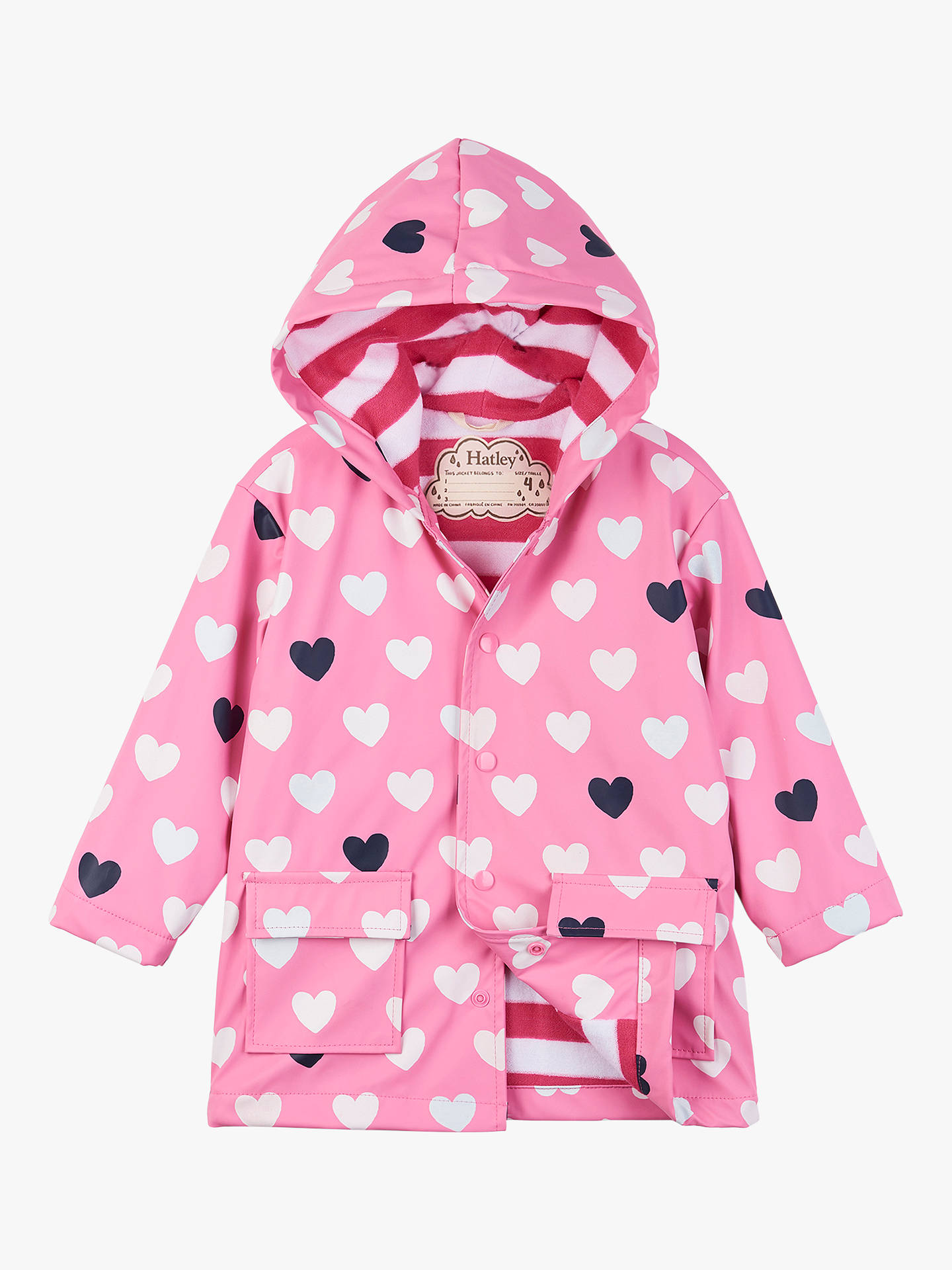 32e132c1c Buy Hatley Girls' Colour Changing Hearts Raincoat, Pink, 2 years Online at  johnlewis ...