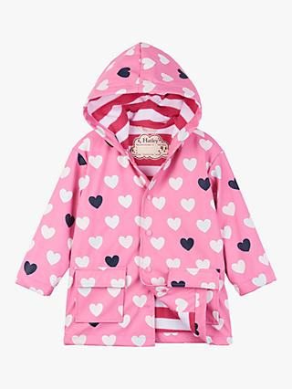 Hatley Girls' Colour Changing Hearts Raincoat, Pink