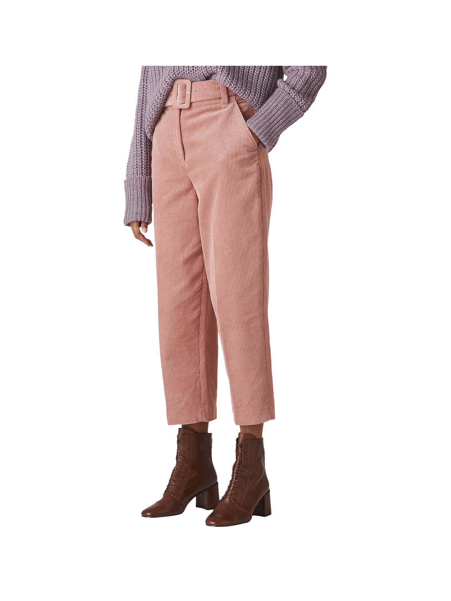 BuyWhistles Corduroy Belted Cropped Trousers, Pink, 10 Online at johnlewis.com