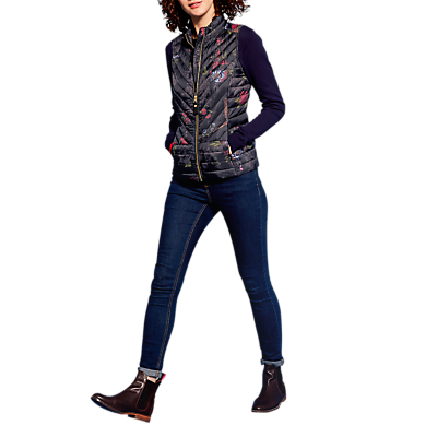 Joules Brindley Chevron Floral Quilted Gilet, Black Woodland Floral