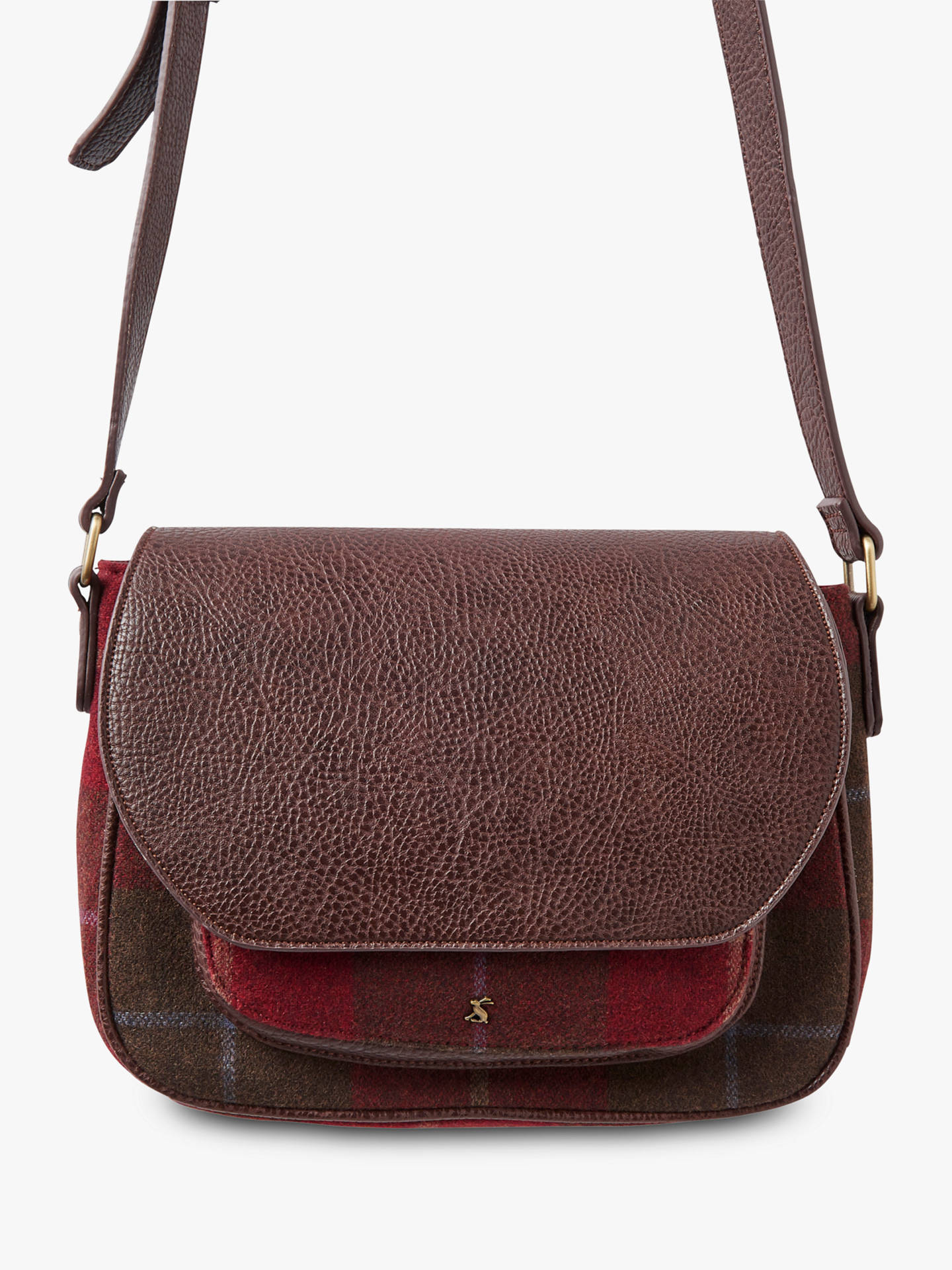 ea3ef030fcf BuyJoules Darby Tweed Saddle Bag, Red Check Online at johnlewis.com ...