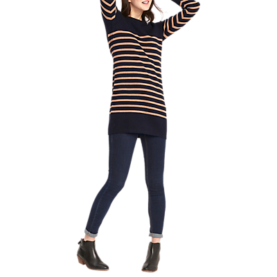 Joules Brianne Knitted Tie Sleeve Tunic, Navy/Camel