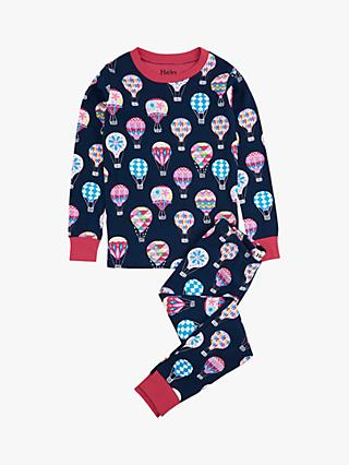 Hatley Girls' Hot Air Balloon Organic Cotton Pyjamas, Navy/Multi