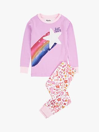 Hatley Girls' Star Unicorn Doodles Organic Cotton Pyjamas, Purple