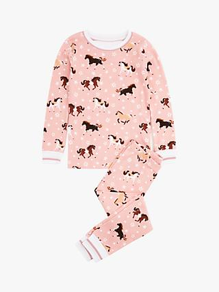 Hatley Girls' Frolicking Horses Organic Cotton Pyjamas, Pink