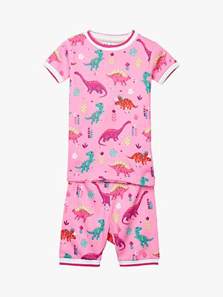 Hatley Girls' Dinosaur Organic Cotton Short Pyjamas, Pink