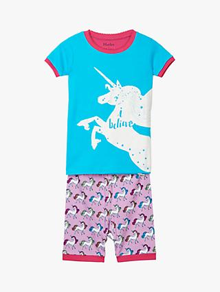 Hatley Girls' Rainbow Unicorns Organic Cotton Short Pyjamas, Multi