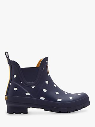 Joules Wellibob Ankle High Wellington Boots, Navy Spot