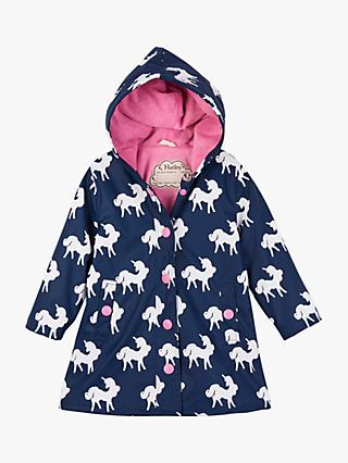 Hatley Girls' Colour Changing Unicorn Print Splash Jacket, Navy