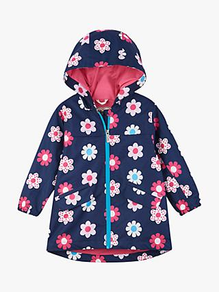 Hatley Girls' Spring Flowers Microfiber Jacket, Navy