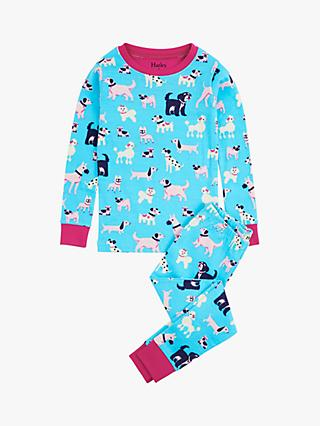 Hatley Girls' Pooches Organic Cotton Pyjamas, Blue