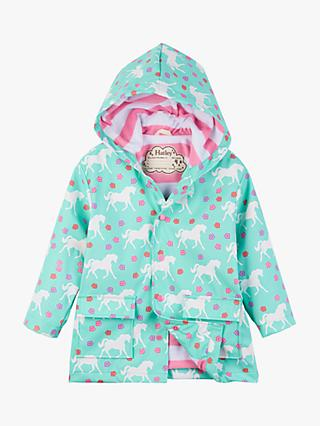 Hatley Girls' Colour Changing Horses Raincoat, Blue