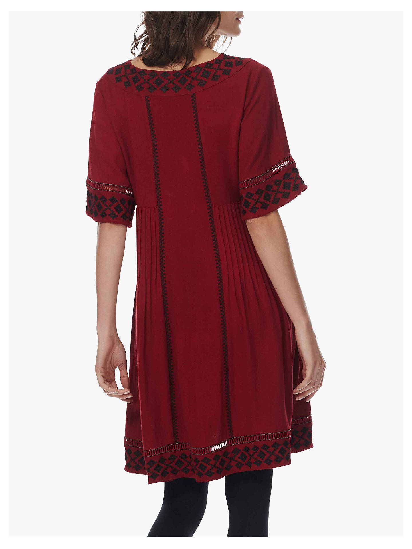 Buy Brora Embroidered V-neck Dress, Clay, 6 Online at johnlewis.com