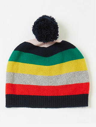 Buy John Lewis & Partners Children's Christmas Cashmere Stripe Beanie Hat, Multi, 6-8 years Online at johnlewis.com