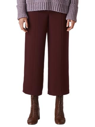 Whistles Flat Front Wide Leg Cropped Trousers, Burgundy