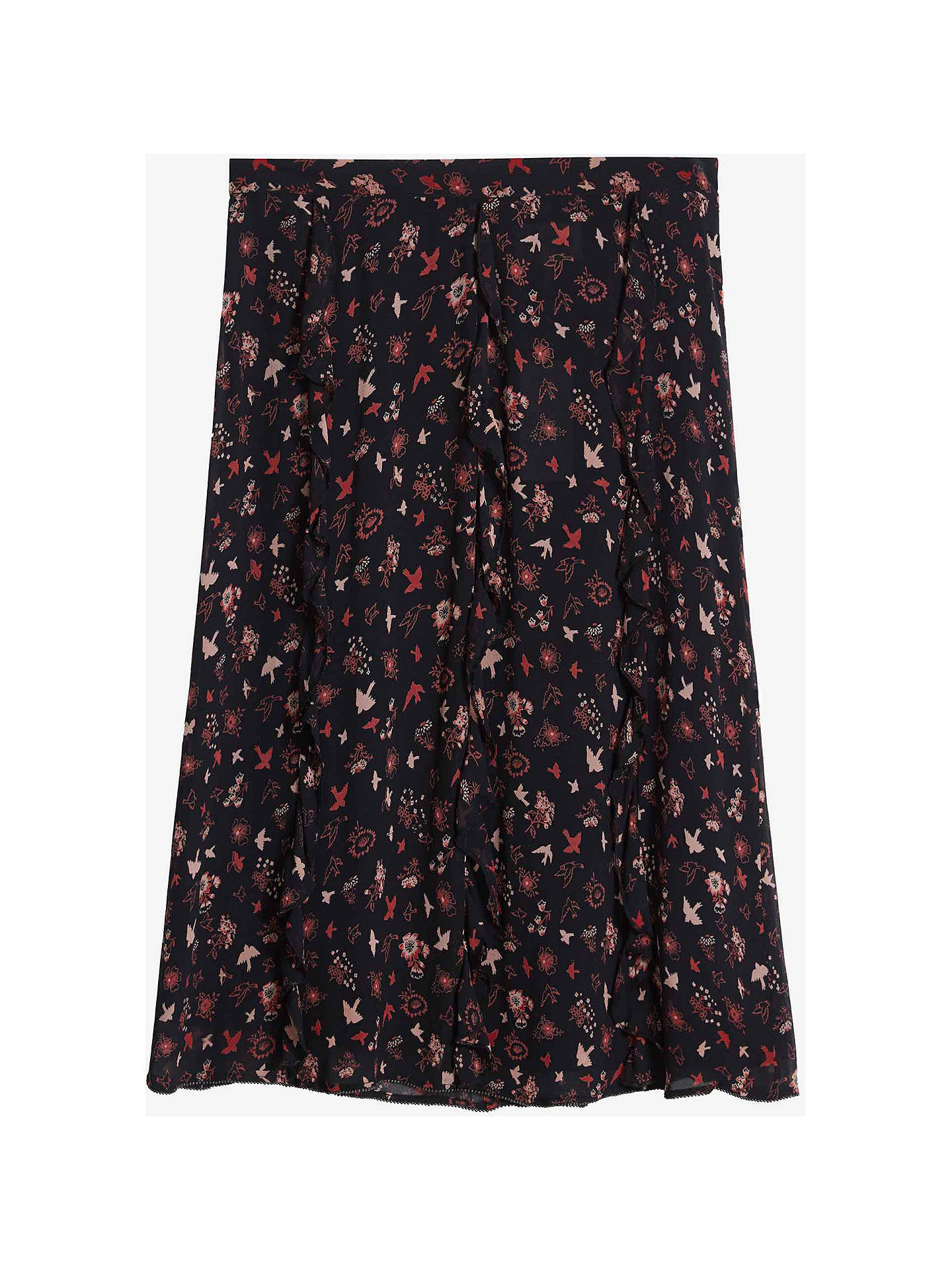 Buy Brora Silk Georgette Bird Knee Length Skirt, Clay Bird, 10 Online at johnlewis.com