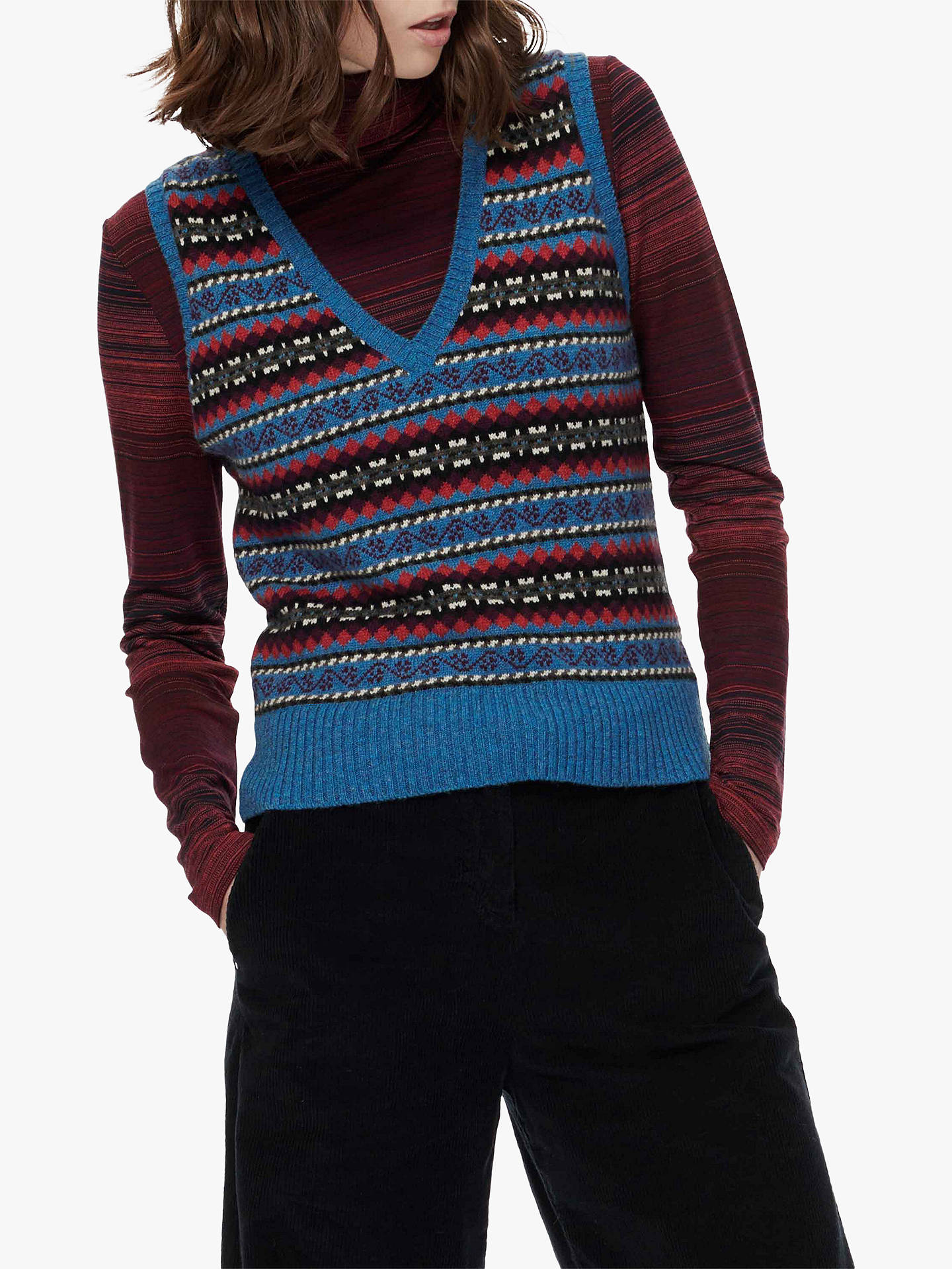 Buy Brora Cashmere Fair Isle Tank Top, Ocean, 14 Online at johnlewis.com