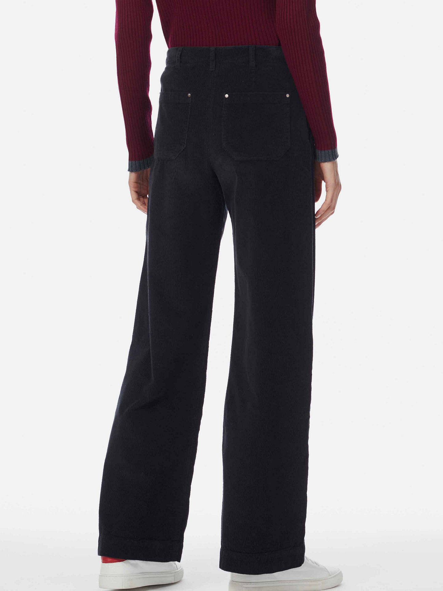 Buy Brora Wide Leg Corduroy Trousers, Black, 16 Online at johnlewis.com