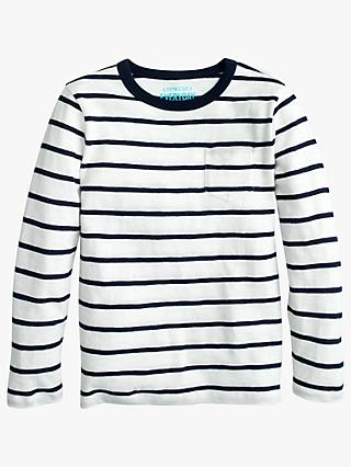 crewcuts by J.Crew Boys' Long Sleeve Striped T-shirt, Ivory