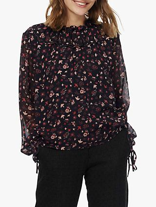 Brora Botanical Silk Ruffle Neck Shirt, Multi