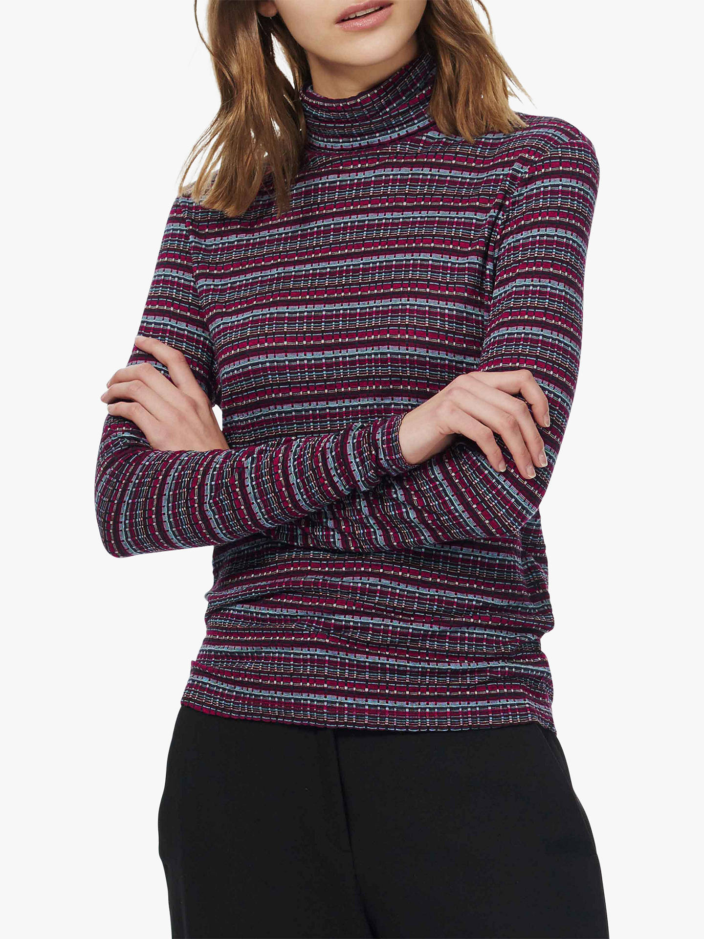 BuyBrora Folk Stripe Polo Jumper, Airforce/Ruby, 8 Online at johnlewis.com