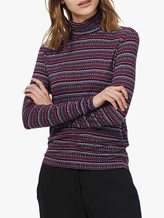 Buy Brora Folk Stripe Polo Jumper, Airforce/Ruby, 8 Online at johnlewis.com