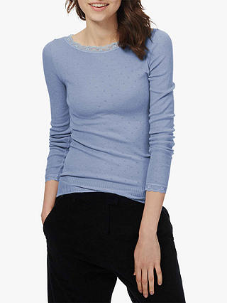Buy Brora Lace Trim Scoop Neck Top, Iris, 12-14 Online at johnlewis.com