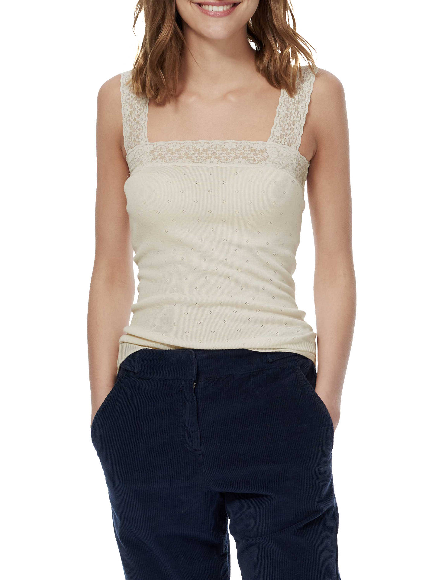 BuyBrora Lace Trim Cami, Cream, 8-10 Online at johnlewis.com