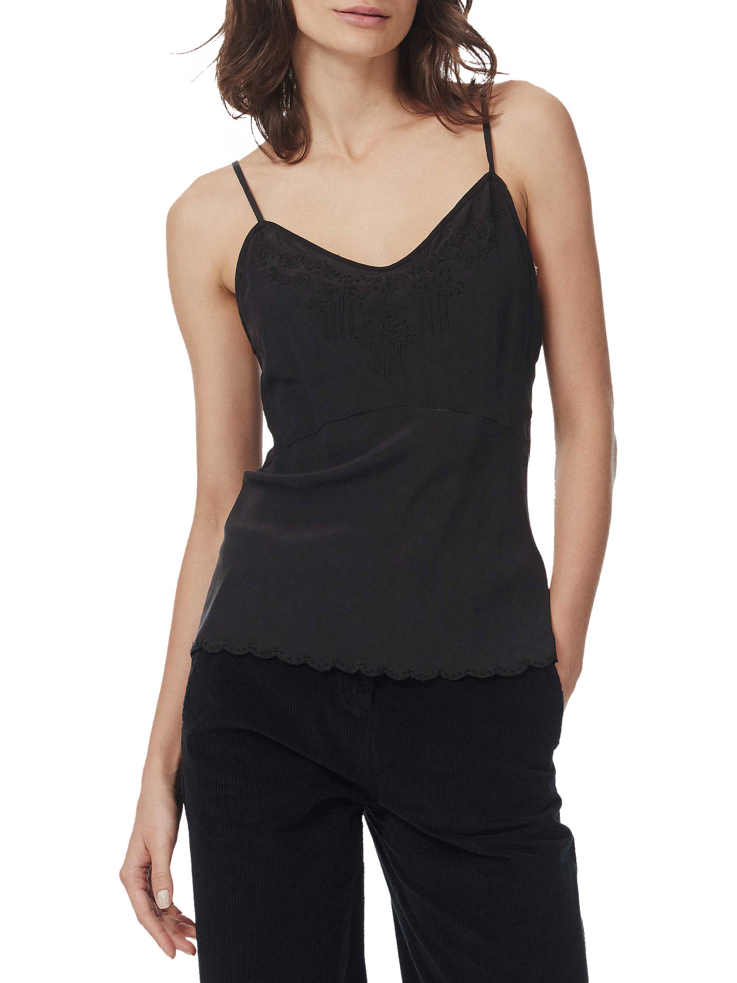 BuyBrora Embroidered Silk Cami, Coal, 14 Online at johnlewis.com