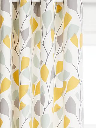 John Lewis & Partners Ines Pair Lined Eyelet Curtains, Citrine