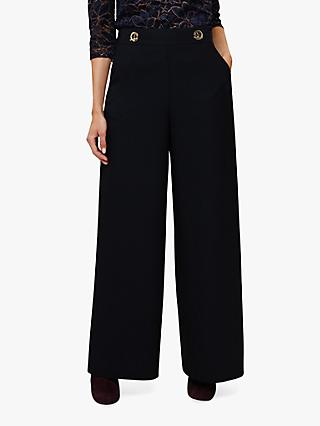 Phase Eight Robbie Eyelet Wide Trousers, Midnight
