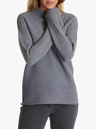 Betty Barclay Ribbed High-Neck Jumper, Middle Grey Melange