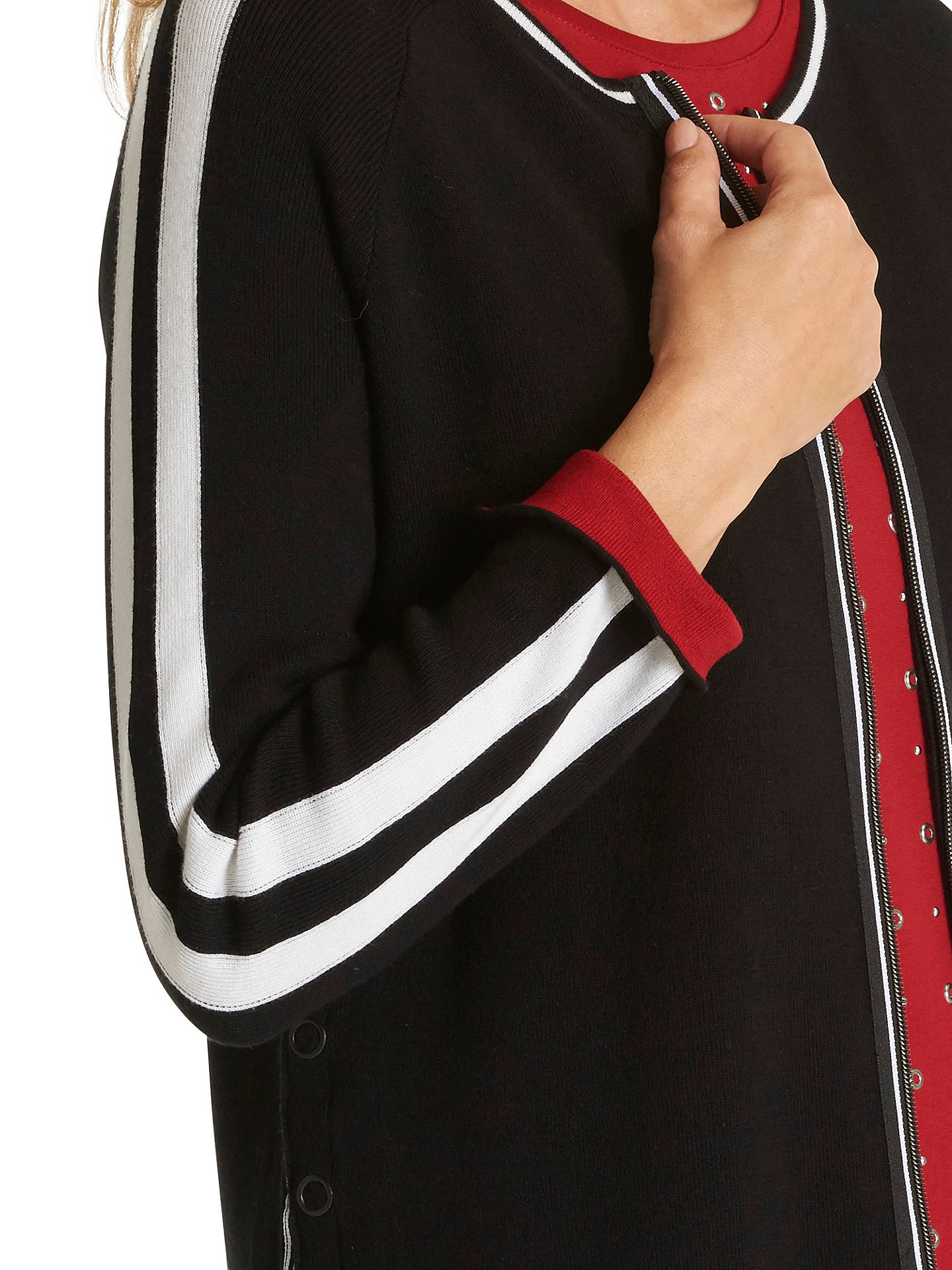 BuyBetty Barclay Stripe Zip Cardigan, Black, 10 Online at johnlewis.com