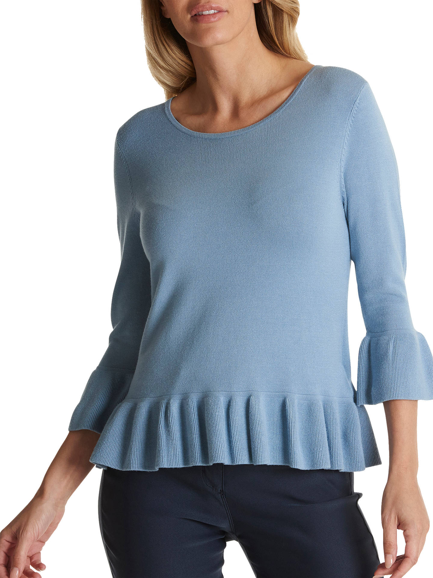 BuyBetty Barclay Fine Knit Frilled Jumper, Dusty Blue, 10 Online at johnlewis.com