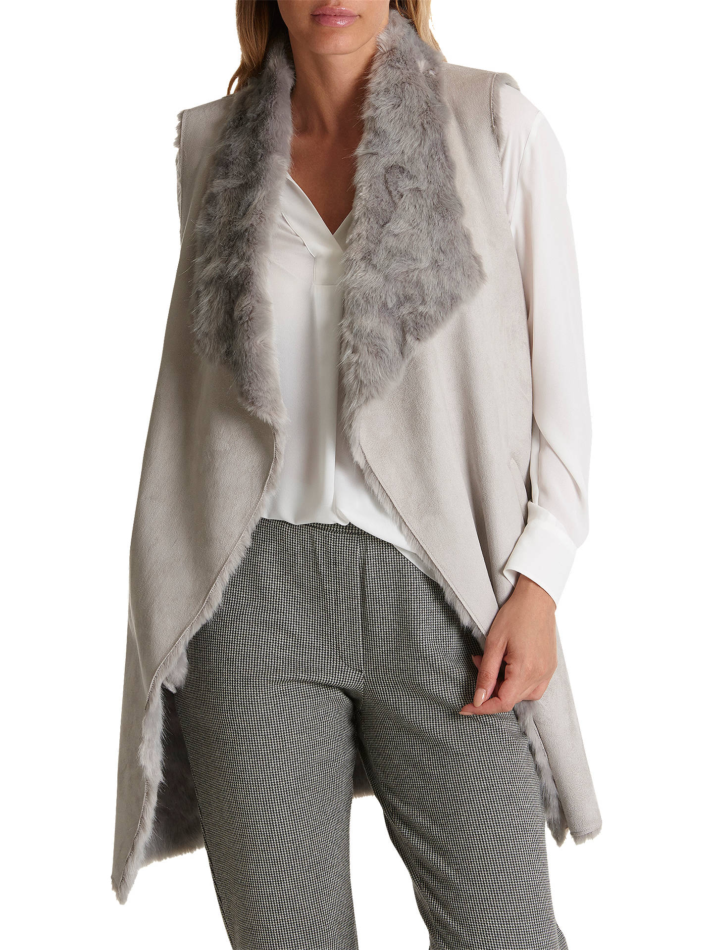 Buy Betty Barclay Faux Fur Gilet, Light Silver, 10 Online at johnlewis.com