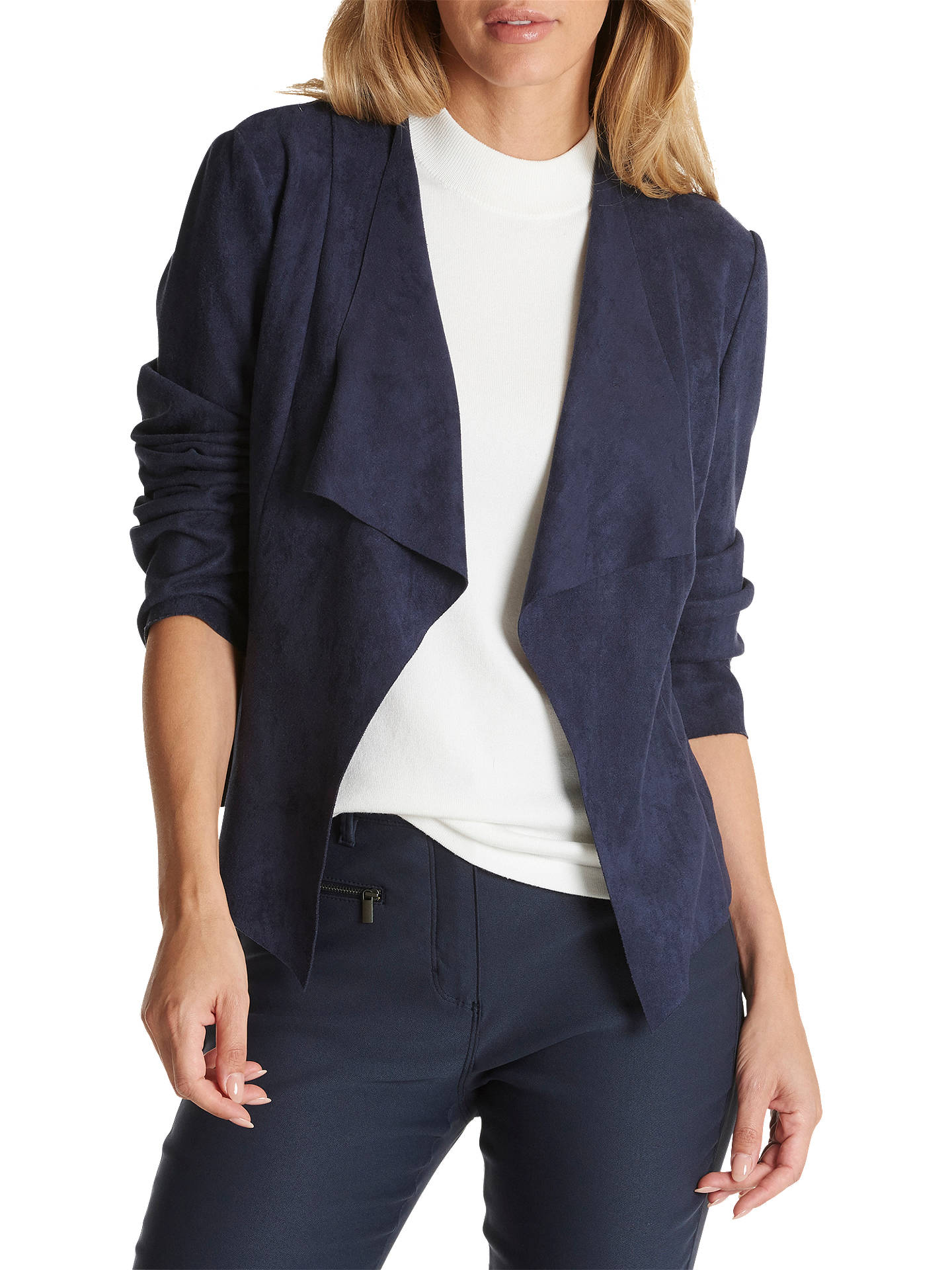 BuyBetty Barclay Faux Suede Waterfall Jacket, Dark Grey, 10 Online at johnlewis.com