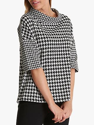 Betty Barclay Houndstooth Print Top, Black/White