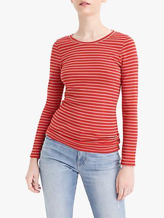 426acb7654e059 J.Crew Perfect Fit Stripe Long Sleeve T-Shirt, Bright Cerise